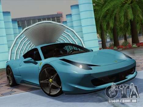 Ferrari 458 Italia 2010 para GTA San Andreas vista interior