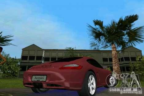Porsche Cayman para GTA Vice City vista traseira esquerda