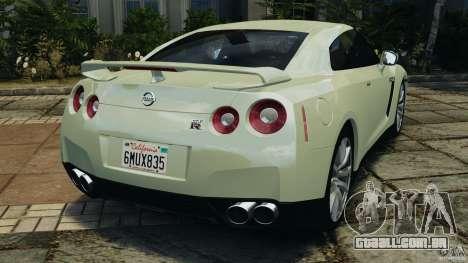 Nissan GT-R 2012 Black Edition para GTA 4 traseira esquerda vista