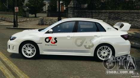 Subaru Impreza WRX STi 2011 G4S Estonia para GTA 4 vista direita
