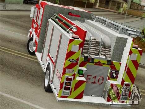 Pierce Saber LAFD Engine 10 para GTA San Andreas vista interior