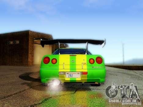 Nissan Skyline GT-R R34 para GTA San Andreas vista interior