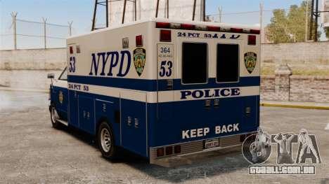 Nova van polícia para GTA 4 traseira esquerda vista