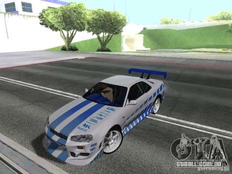 Nissan Skyline GT-R R34 para GTA San Andreas esquerda vista