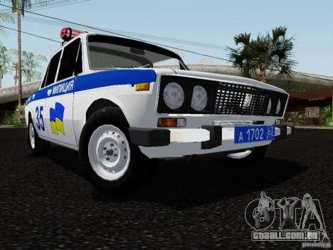 Polícia de 2106 VAZ para GTA San Andreas vista traseira