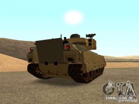 M2A3 Bradley para GTA San Andreas traseira esquerda vista