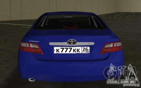 Toyota Camry 2007 para GTA Vice City vista traseira