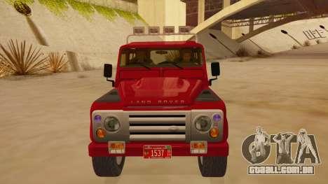 Land Rover Defender para GTA San Andreas vista interior