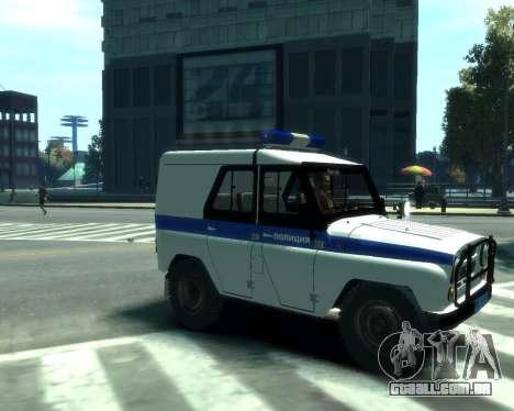 UAZ 31512 polícia para GTA 4 traseira esquerda vista