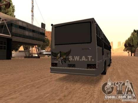 Mercedes Benz SWAT Bus para GTA San Andreas traseira esquerda vista