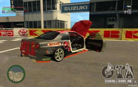 Nissan Skyline R34 Hell Energy para GTA San Andreas traseira esquerda vista
