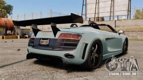 Audi R8 Spider Body Kit para GTA 4 traseira esquerda vista