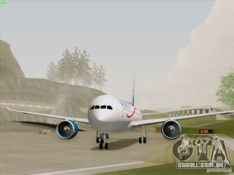 Boeing 787-8 Dreamliner AeroMexico para GTA San Andreas traseira esquerda vista