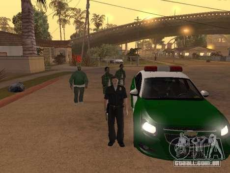 Chevrolet Cruze Carabineros Police para GTA San Andreas vista superior