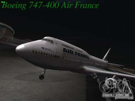Boeing 747-400 Air France para GTA San Andreas esquerda vista