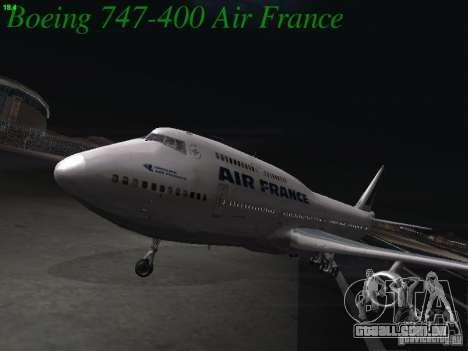 Boeing 747-400 Air France para GTA San Andreas esquerda vista