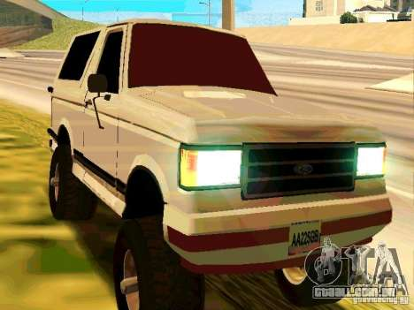 Ford Bronco 1990 para GTA San Andreas esquerda vista