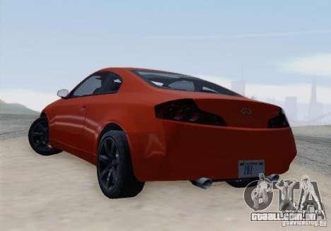 Infiniti G35 para GTA San Andreas vista traseira