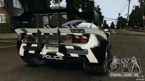 McLaren F1 ELITE Police para GTA 4 traseira esquerda vista
