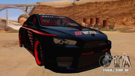 Mitsubishi Lancer Evolution X Pro Street para GTA San Andreas vista traseira