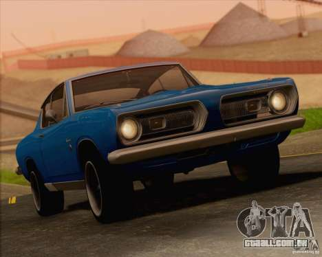 Plymouth Barracuda 1968 para GTA San Andreas vista inferior