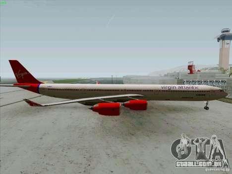 Airbus A-340-600 Virgin para GTA San Andreas esquerda vista
