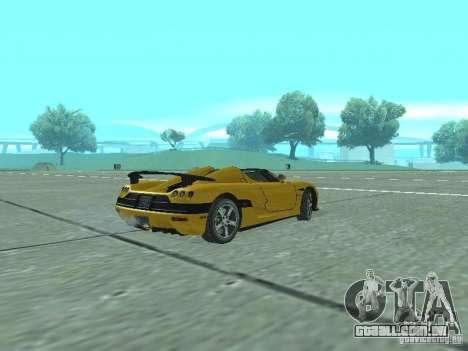 Koenigsegg Agera para GTA San Andreas traseira esquerda vista