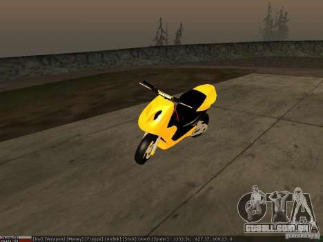 Yamaha Aerox para GTA San Andreas vista inferior