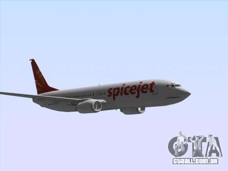 Boeing 737-8F2 Spicejet para GTA San Andreas vista interior