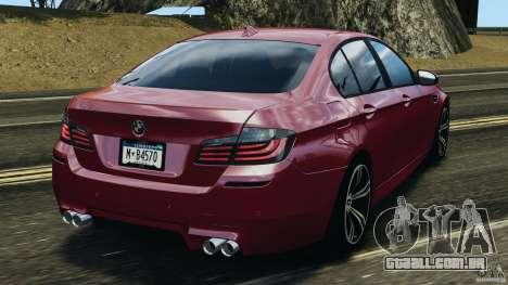 BMW M5 2012 para GTA 4 traseira esquerda vista