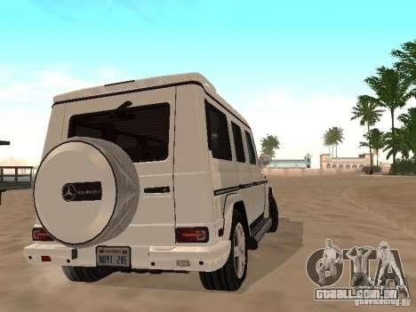 Mercedes-Benz Galendewagen G500 para GTA San Andreas vista interior