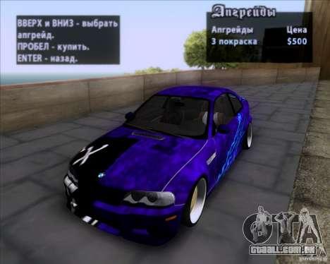 BMW 3-er E46 Dope para GTA San Andreas vista inferior