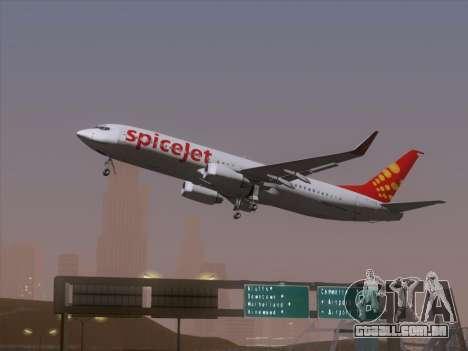 Boeing 737-8F2 Spicejet para GTA San Andreas vista traseira