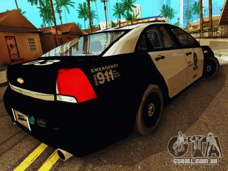Chevrolet Caprice 2011 Police para GTA San Andreas vista direita