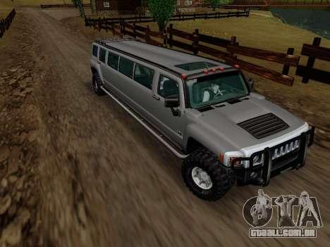 Hummer H3 Limousine para GTA San Andreas vista traseira