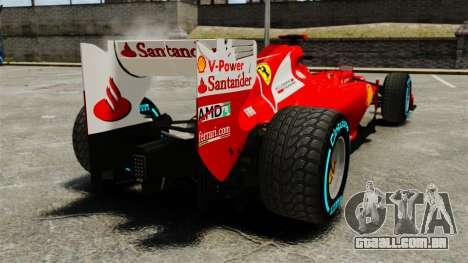 Ferrari F2012 para GTA 4 traseira esquerda vista