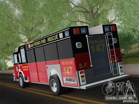 Pierce SFFD Rescue para GTA San Andreas vista direita