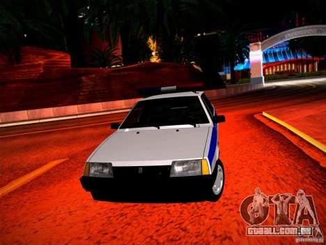 Polícia Vaz 2109 para GTA San Andreas vista traseira