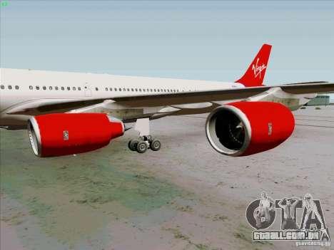 Airbus A-340-600 Virgin para GTA San Andreas vista traseira