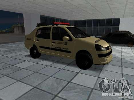 Renault Clio Symbol Police para GTA San Andreas vista direita