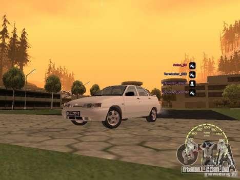 Velocímetro Lada Priora para GTA San Andreas por diante tela
