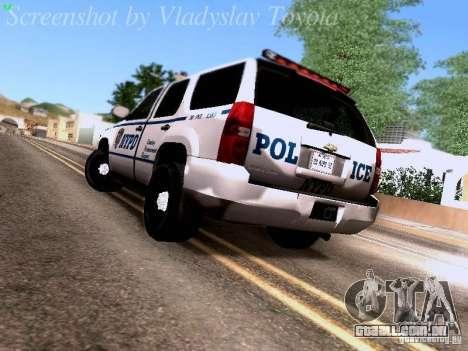 Chevrolet Tahoe 2007 NYPD para GTA San Andreas traseira esquerda vista