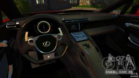 Lexus LFA 2012 Nurburgring Edition para GTA 4 vista de volta