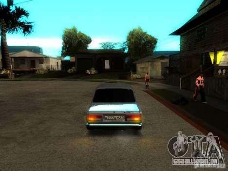 VAZ 2107 V2 para GTA San Andreas vista traseira