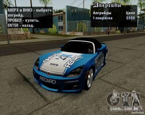 Saturn Sky Red Line 2007 v1.0 para GTA San Andreas vista direita