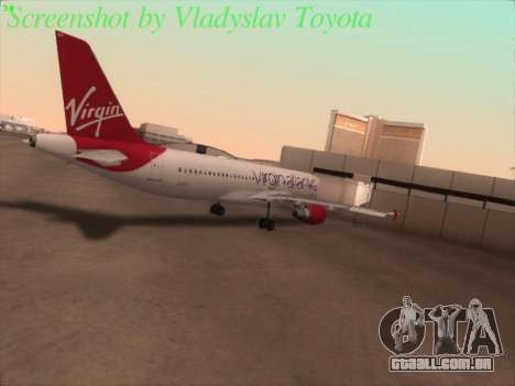 Airbus A320-211 Virgin Atlantic para GTA San Andreas vista traseira