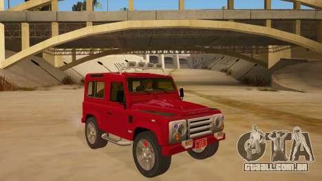 Land Rover Defender para GTA San Andreas vista traseira