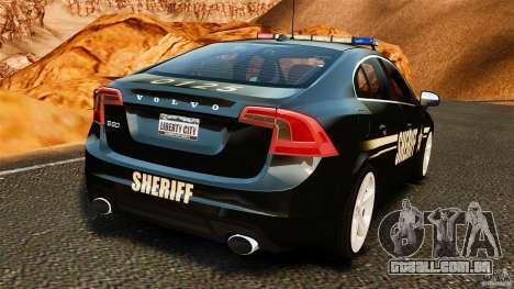 Volvo S60 Sheriff para GTA 4 traseira esquerda vista