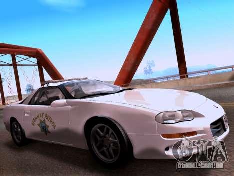 Chevrolet Camaro 2002 California Highway Patrol para GTA San Andreas vista direita