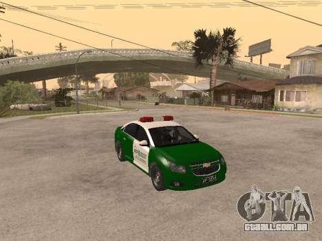 Chevrolet Cruze Carabineros Police para GTA San Andreas vista traseira